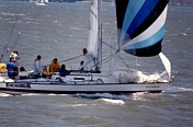 Racing in San Francisco Bay, Byron Robert Mayo in Blue on Stern